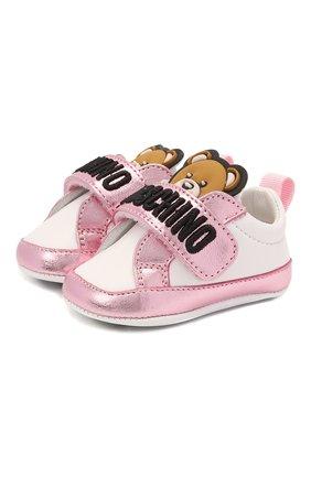 Детского кожаные пинетки MOSCHINO розового цвета, арт. 67339/LAMINAT0/GL0VE/GL0VE/15-21 | Фото 1