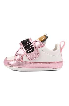 Детского кожаные пинетки MOSCHINO розового цвета, арт. 67339/LAMINAT0/GL0VE/GL0VE/15-21 | Фото 2