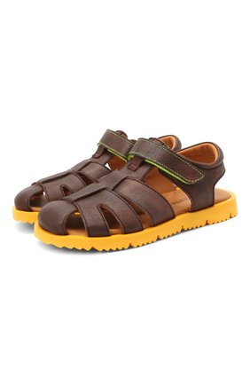 Детские кожаные сандалии RONDINELLA коричневого цвета, арт. 0824-1/4537/31-33 | Фото 1