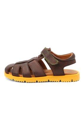 Детские кожаные сандалии RONDINELLA коричневого цвета, арт. 0824-1/4537/31-33 | Фото 2