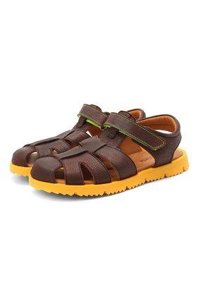 Детские кожаные сандалии RONDINELLA коричневого цвета, арт. 0824-1/4537/34-36   Фото 1