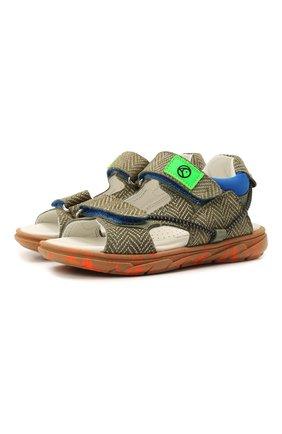 Детские кожаные сандалии RONDINELLA хаки цвета, арт. 0986/6395/24-27 | Фото 1