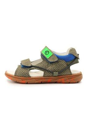 Детские кожаные сандалии RONDINELLA хаки цвета, арт. 0986/6395/24-27 | Фото 2