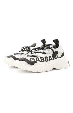 Детские кроссовки DOLCE & GABBANA черно-белого цвета, арт. DA0978/A0262/29-36   Фото 1