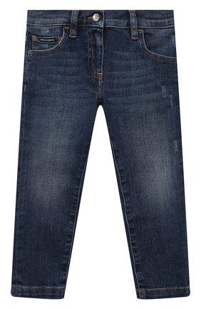 Детские джинсы DOLCE & GABBANA темно-синего цвета, арт. L51F69/LD954/2-6   Фото 1 (Материал внешний: Хлопок; Кросс-КТ: джинсы; Ростовка одежда: 2 года   92 см, 3 года   98 см, 4 года   104 см, 5 лет   110 см, 6 лет   116 см)