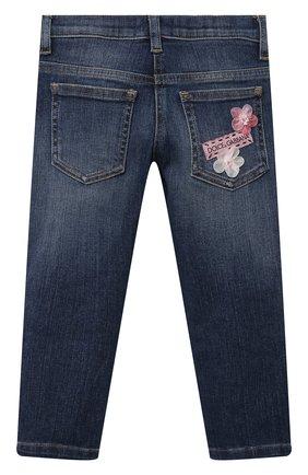 Детские джинсы DOLCE & GABBANA темно-синего цвета, арт. L51F69/LD954/2-6   Фото 2 (Материал внешний: Хлопок; Кросс-КТ: джинсы; Ростовка одежда: 2 года   92 см, 3 года   98 см, 4 года   104 см, 5 лет   110 см, 6 лет   116 см)