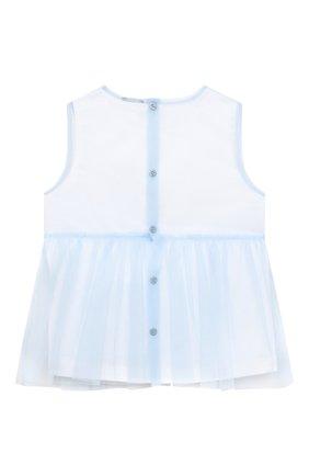 Детский хлопковый топ IL GUFO голубого цвета, арт. P21CA009H0018/5A-8A | Фото 2 (Рукава: Короткие; Материал внешний: Хлопок; Девочки Кросс-КТ: топ-одежда; Ростовка одежда: 4 года | 104 см, 5 лет | 110 см)