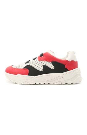 Детские кожаные кроссовки EMPORIO ARMANI красного цвета, арт. XMX006/X0I48   Фото 2