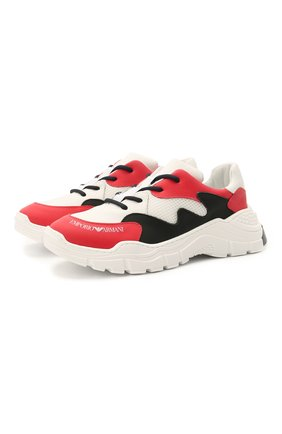 Детские кожаные кроссовки EMPORIO ARMANI красного цвета, арт. XYX008/X0I46/28-34 | Фото 1 (Материал внутренний: Натуральная кожа)