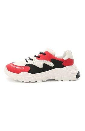 Детские кожаные кроссовки EMPORIO ARMANI красного цвета, арт. XYX008/X0I46/28-34 | Фото 2 (Материал внутренний: Натуральная кожа)