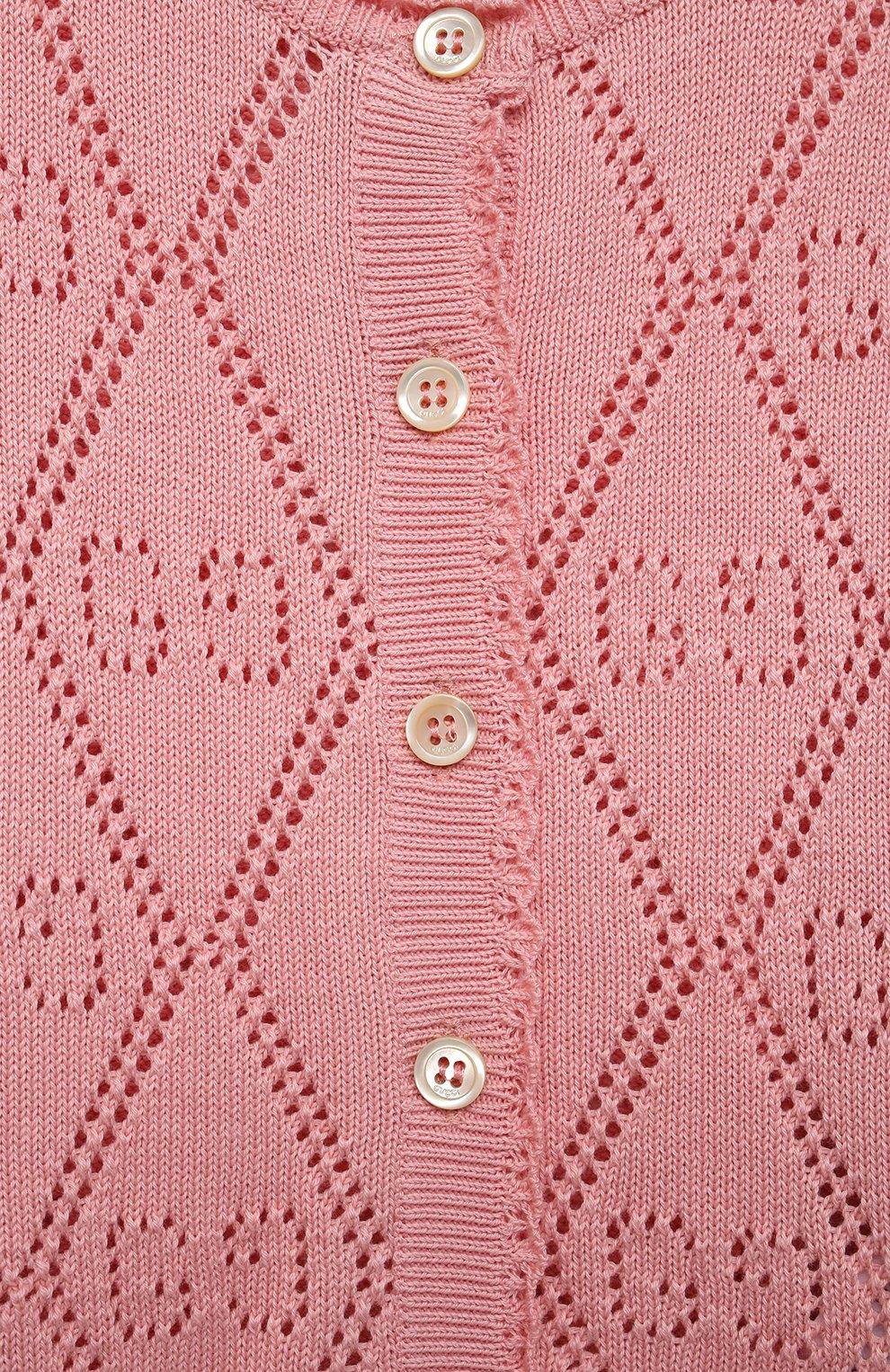 Детский хлопковый кардиган GUCCI розового цвета, арт. 642843/XKBQ0 | Фото 3 (Рукава: Длинные; Материал внешний: Хлопок; Ростовка одежда: 12 мес | 80 см, 18 мес | 86 см, 24 мес | 92 см, 36 мес | 98 см)