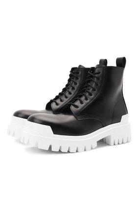 Мужские кожаные ботинки strike BALENCIAGA черно-белого цвета, арт. 589338/WA967 | Фото 1