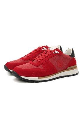 Мужские комбинированные кроссовки BOGNER красного цвета, арт. 12120741/NEW LIVIGN0 1 B | Фото 1 (Материал внешний: Текстиль; Материал внутренний: Натуральная кожа; Подошва: Массивная; Стили: Спорт)