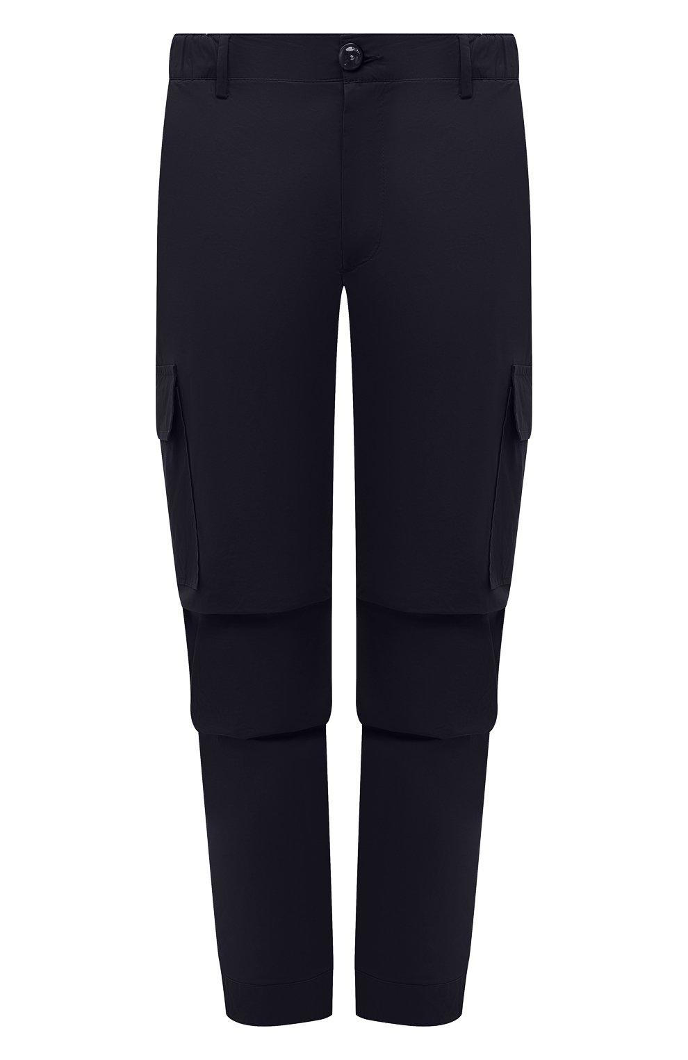 Мужские хлопковые брюки-карго PREMIUM MOOD DENIM SUPERIOR темно-синего цвета, арт. S21 04177524/MIK | Фото 1 (Силуэт М (брюки): Карго; Случай: Повседневный; Стили: Гранж; Материал внешний: Хлопок; Длина (брюки, джинсы): Укороченные)