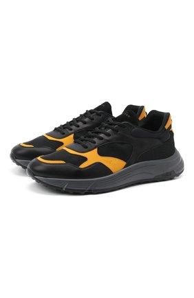 Мужские комбинированные кроссовки HOGAN черного цвета, арт. HXM5630DM90PJ8 | Фото 1