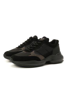 Мужские комбинированные кроссовки HOGAN черного цвета, арт. HXM5450DN90PNS | Фото 1