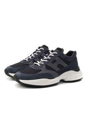 Мужские комбинированные кроссовки HOGAN темно-синего цвета, арт. HXM5450DN90PNS | Фото 1