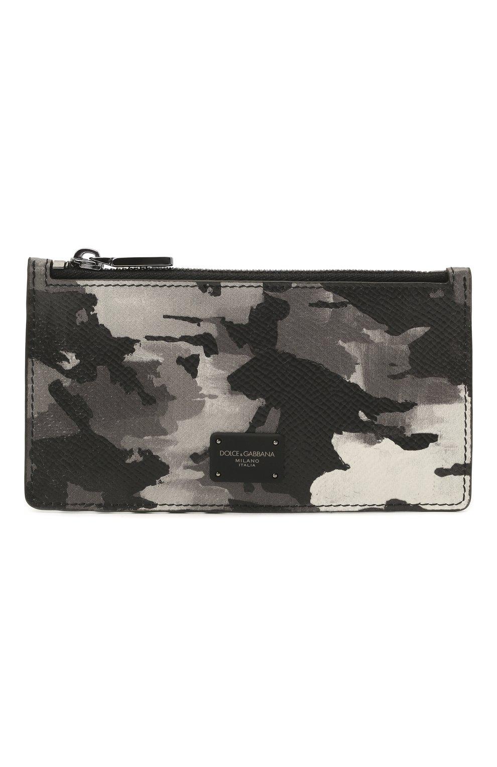 Мужской кожаный футляр для кредитных карт DOLCE & GABBANA серого цвета, арт. BP2527/AZ657   Фото 1 (Материал: Кожа)