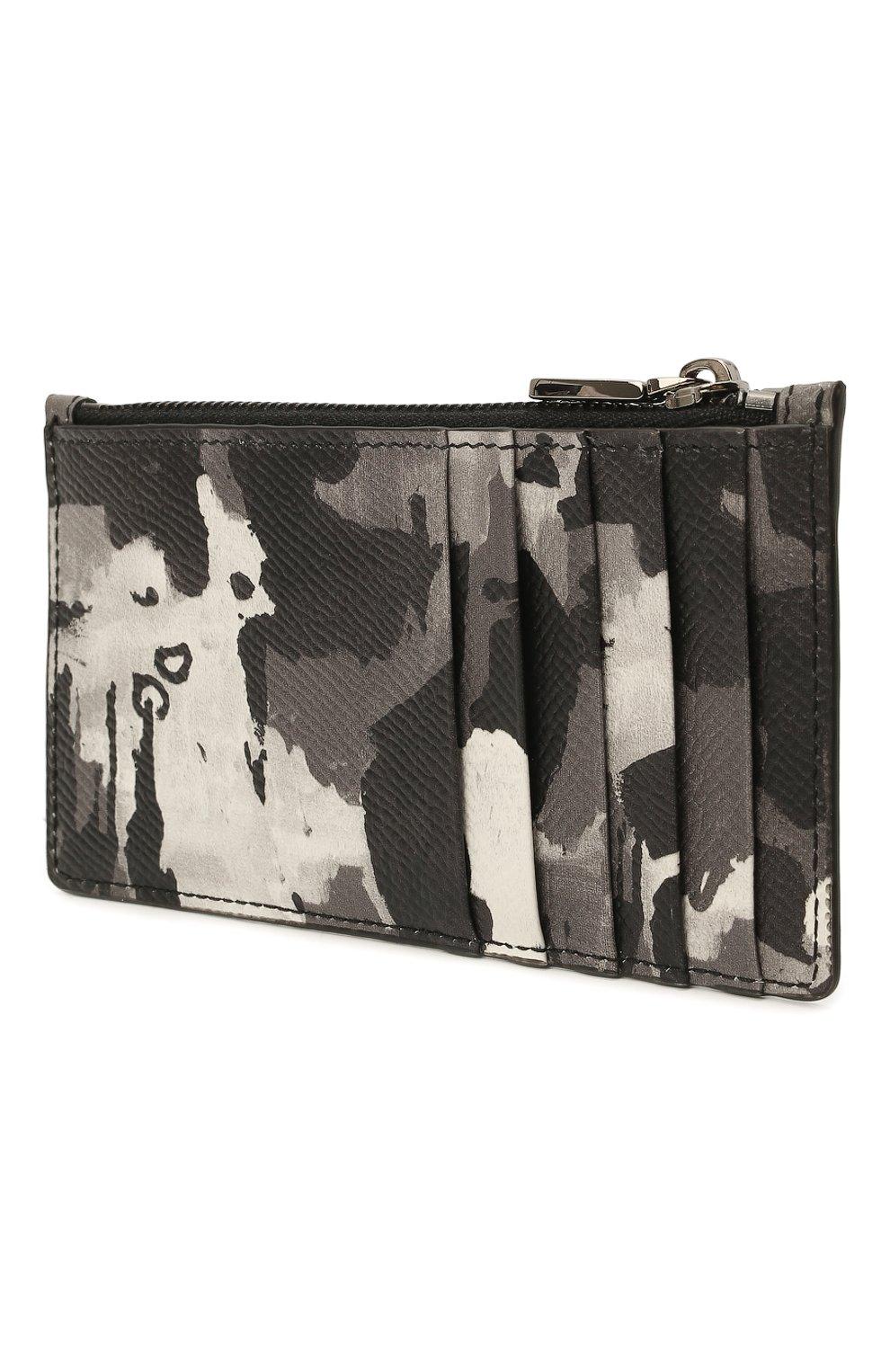 Мужской кожаный футляр для кредитных карт DOLCE & GABBANA серого цвета, арт. BP2527/AZ657   Фото 2 (Материал: Кожа)