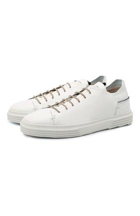 Мужские кожаные кеды MOMA белого цвета, арт. 4AS106-B0   Фото 1