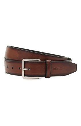 Мужской кожаный ремень BERLUTI коричневого цвета, арт. C0073-002 | Фото 1