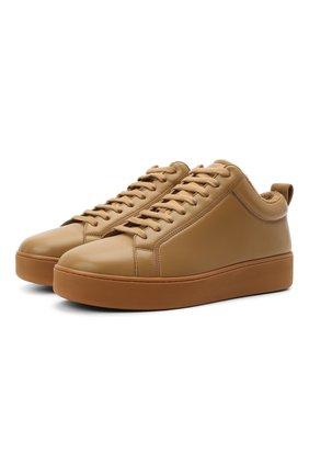 Мужские кожаные кеды BOTTEGA VENETA коричневого цвета, арт. 651427/V00T0 | Фото 1 (Материал внутренний: Текстиль, Натуральная кожа; Подошва: Массивная)