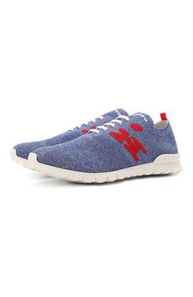 Мужские текстильные кроссовки KITON голубого цвета, арт. USSKD0TN00818/12-16   Фото 1
