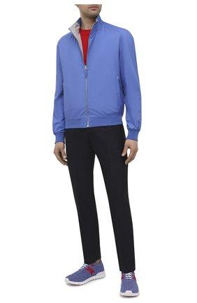 Мужские текстильные кроссовки KITON голубого цвета, арт. USSKD0TN00818/12-16   Фото 2