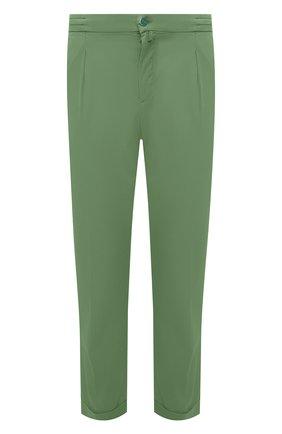 Мужские брюки KITON зеленого цвета, арт. UFP1LACJ07T43 | Фото 1 (Материал внешний: Лиоцелл, Хлопок; Длина (брюки, джинсы): Стандартные; Случай: Повседневный; Стили: Кэжуэл)