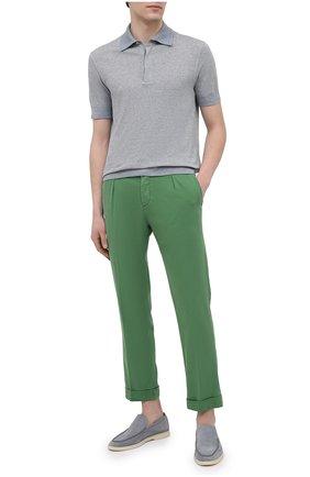 Мужские брюки KITON зеленого цвета, арт. UFP1LACJ07T43 | Фото 2 (Материал внешний: Лиоцелл, Хлопок; Длина (брюки, джинсы): Стандартные; Случай: Повседневный; Стили: Кэжуэл)
