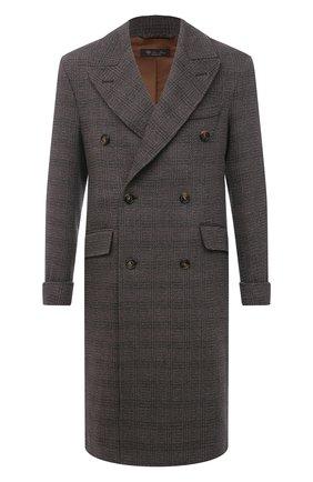 Мужской пальто из шерсти и кашемира LORO PIANA коричневого цвета, арт. FAL4290   Фото 1 (Длина (верхняя одежда): До колена; Материал внешний: Шерсть, Кашемир; Мужское Кросс-КТ: пальто-верхняя одежда; Стили: Кэжуэл; Материал подклада: Синтетический материал; Рукава: Длинные)