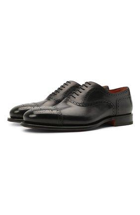 Мужские кожаные оксфорды SANTONI темно-синего цвета, арт. MCPH17555RB2IVVDU59 | Фото 1 (Материал внутренний: Натуральная кожа; Мужское Кросс-КТ: Броги-обувь; Стили: Классический)