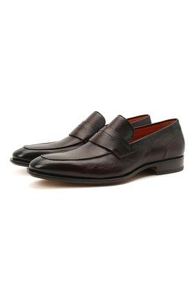 Мужские кожаные пенни-лоферы SANTONI темно-коричневого цвета, арт. MCLE17515LA1ESLQT50 | Фото 1 (Материал внутренний: Натуральная кожа; Стили: Классический)