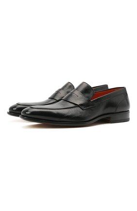 Мужские кожаные пенни-лоферы SANTONI черного цвета, арт. MCLE17515LA1ESLQN51 | Фото 1 (Материал внутренний: Натуральная кожа; Стили: Классический)