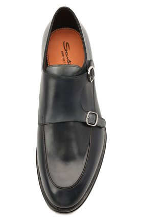 Мужские кожаные монки SANTONI темно-синего цвета, арт. MCC016036MC3HNGWU60 | Фото 5 (Материал внутренний: Натуральная кожа; Стили: Классический)