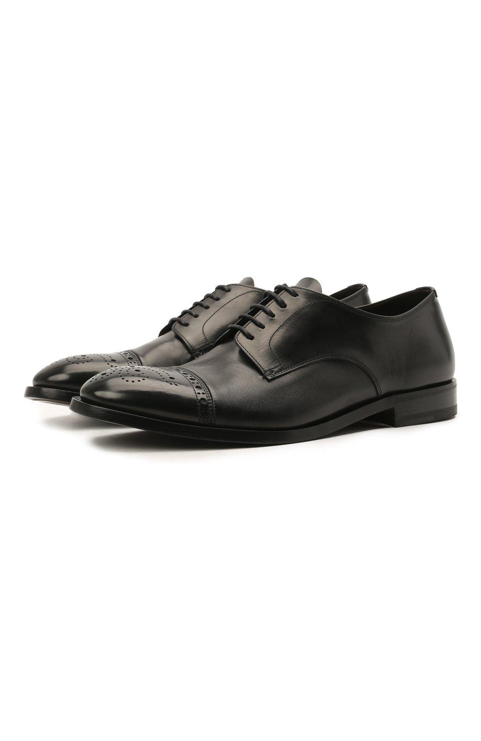Мужские кожаные дерби H`D`S`N BARACCO черного цвета, арт. 71201.P.1*   Фото 1 (Мужское Кросс-КТ: Броги-обувь; Материал внутренний: Натуральная кожа; Стили: Классический)