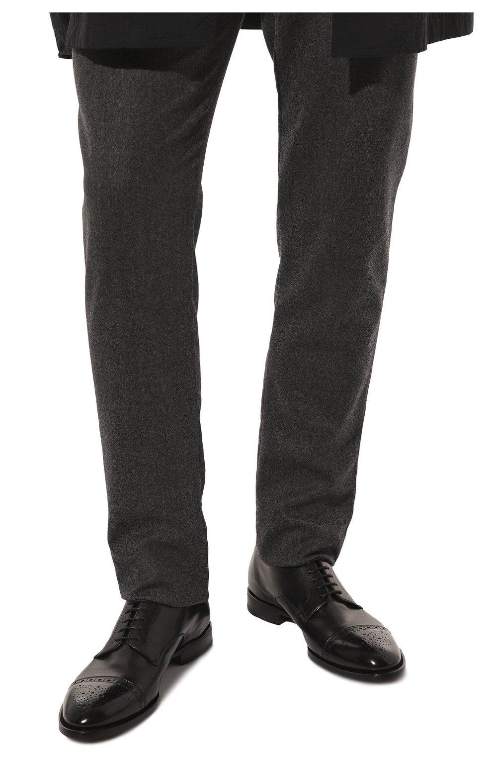 Мужские кожаные дерби H`D`S`N BARACCO черного цвета, арт. 71201.P.1*   Фото 3 (Мужское Кросс-КТ: Броги-обувь; Материал внутренний: Натуральная кожа; Стили: Классический)