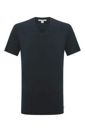 Мужская хлопковая футболка JAMES PERSE темно-зеленого цвета, арт. MLJ3352 | Фото 1 (Материал внешний: Хлопок; Длина (для топов): Стандартные; Принт: Без принта; Рукава: Короткие; Стили: Кэжуэл)