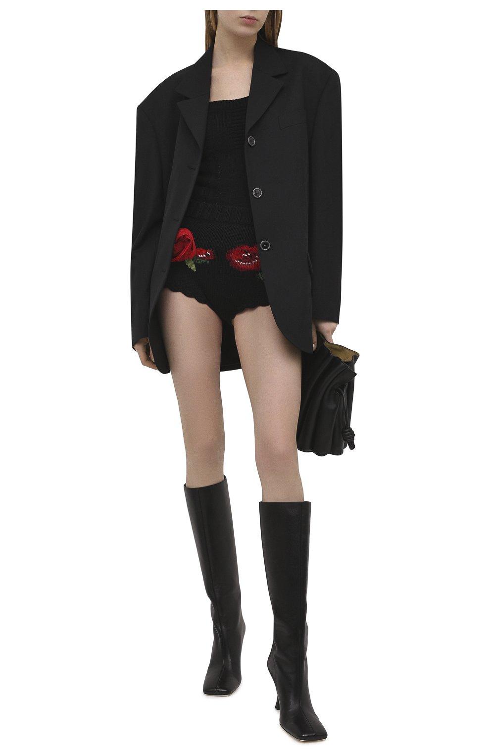 Женские шерстяные шорты DOLCE & GABBANA черного цвета, арт. FX222Z/JAV54 | Фото 2 (Женское Кросс-КТ: Шорты-одежда; Материал внешний: Шерсть; Стили: Гламурный; Длина Ж (юбки, платья, шорты): Мини)