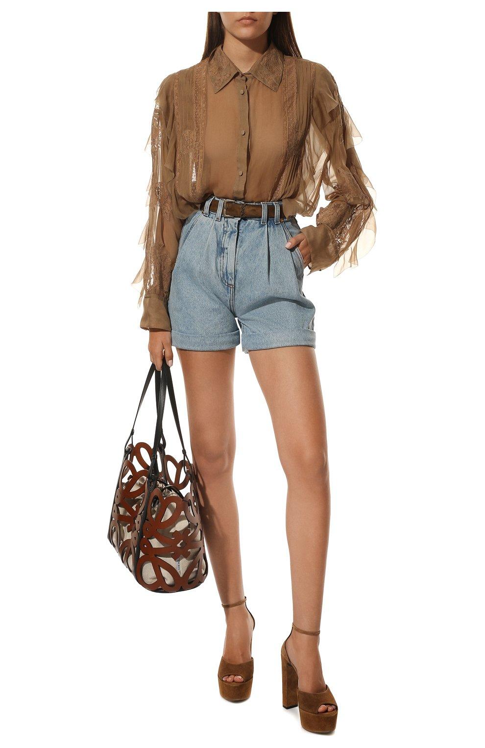 Женские замшевые босоножки jodie SAINT LAURENT коричневого цвета, арт. 650258/0LI00 | Фото 2