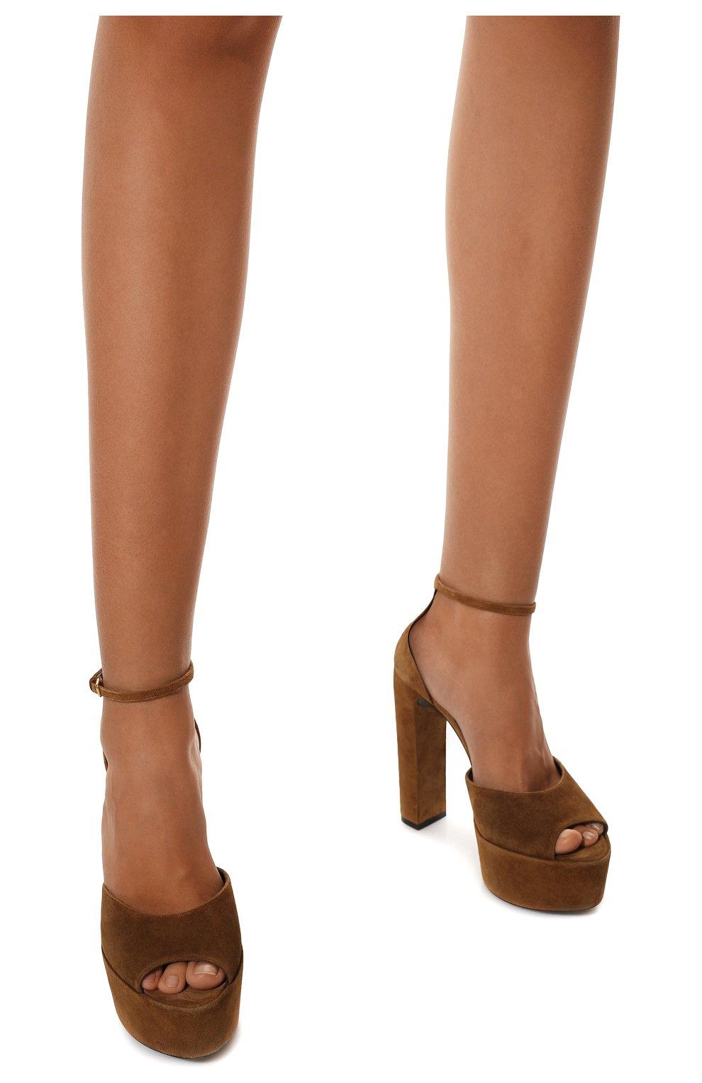 Женские замшевые босоножки jodie SAINT LAURENT коричневого цвета, арт. 650258/0LI00 | Фото 3