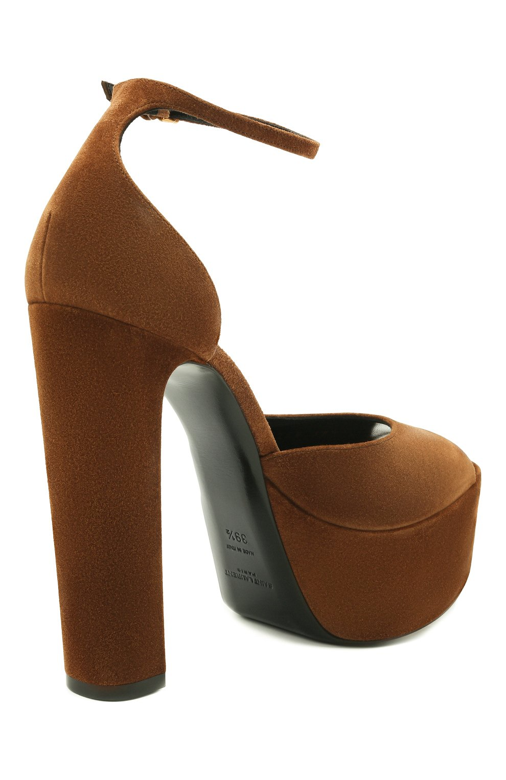 Женские замшевые босоножки jodie SAINT LAURENT коричневого цвета, арт. 650258/0LI00 | Фото 5