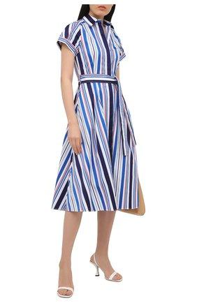 Женское хлопковое платье LORO PIANA синего цвета, арт. FAL7088 | Фото 2