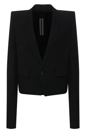 Женский жакет из шерсти и вискозы RICK OWENS черного цвета, арт. RP21S3755/WE   Фото 1