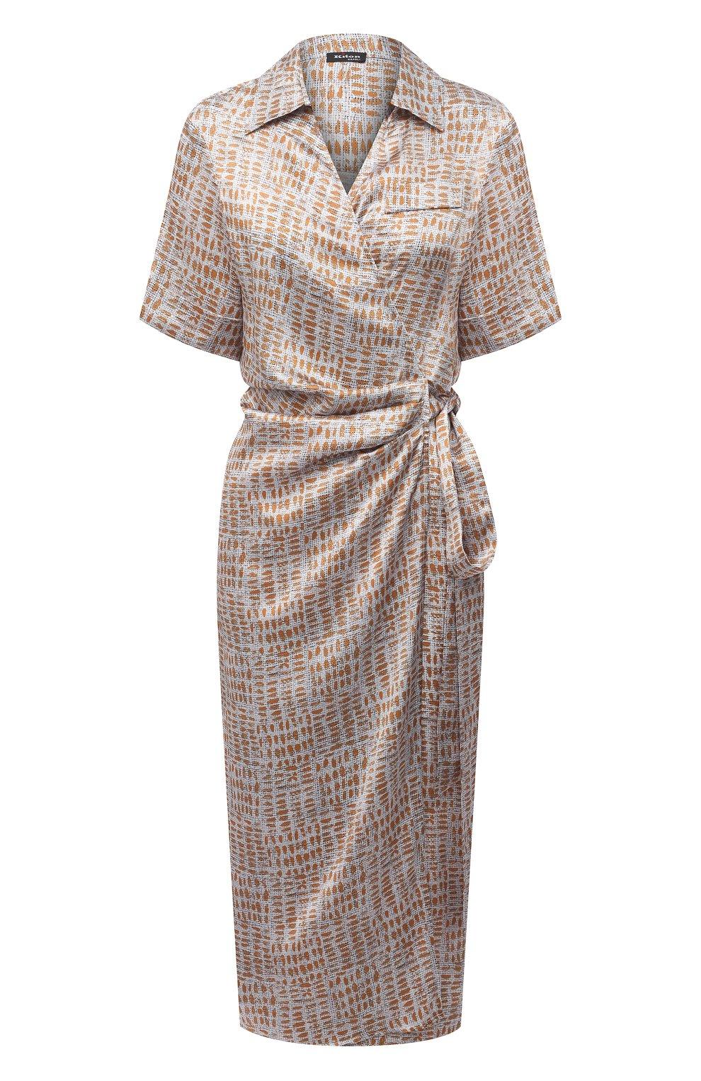 Женское шелковое платье KITON бежевого цвета, арт. D51362K09T89 | Фото 1