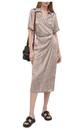 Женское шелковое платье KITON бежевого цвета, арт. D51362K09T89 | Фото 2