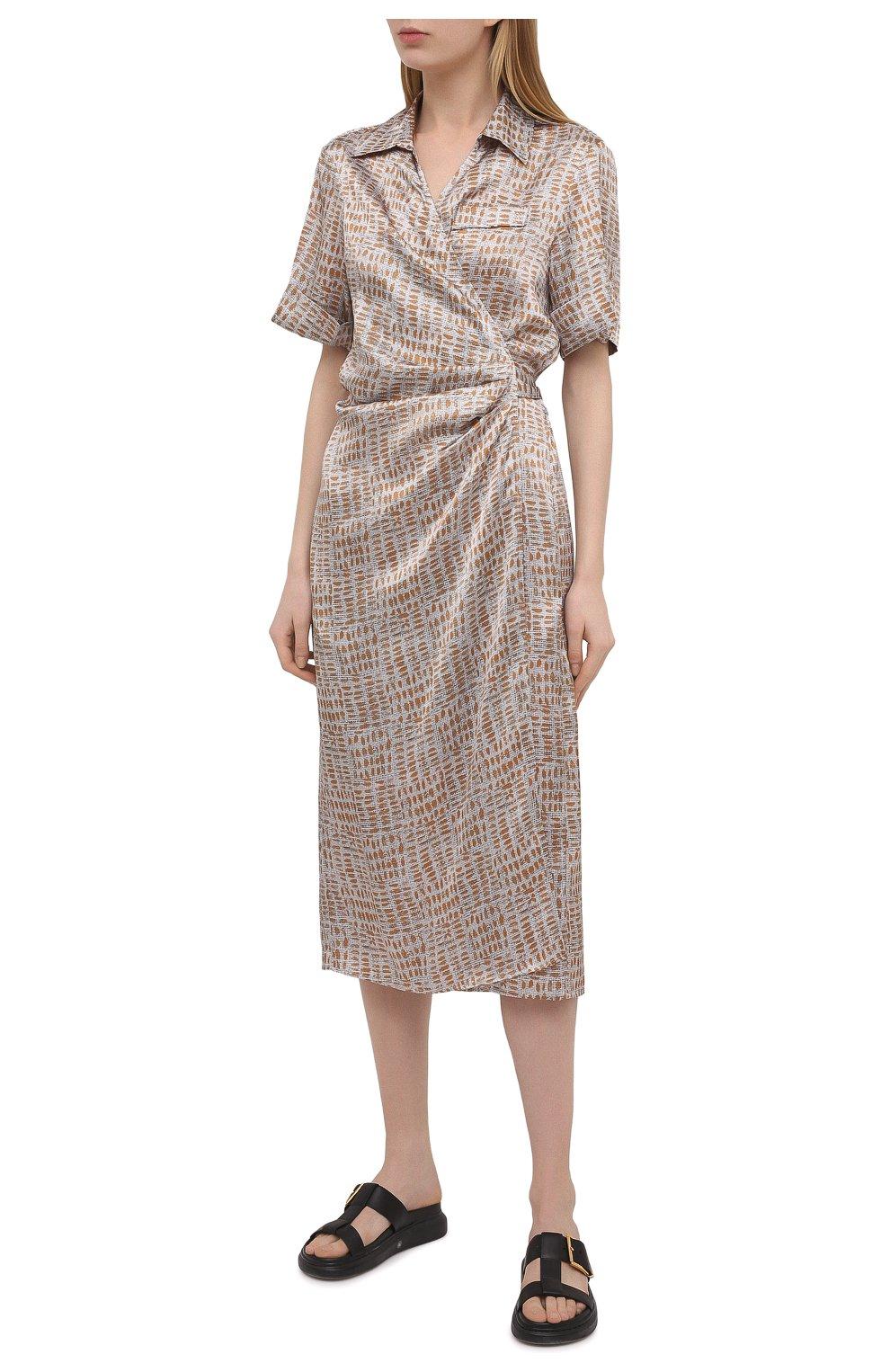 Женское шелковое платье KITON бежевого цвета, арт. D51362K09T89 | Фото 3