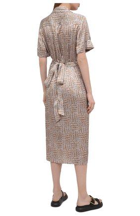 Женское шелковое платье KITON бежевого цвета, арт. D51362K09T89 | Фото 4