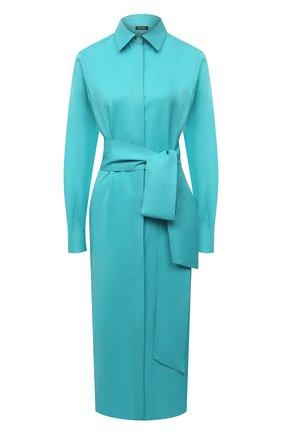 Женское платье из хлопка и льна KITON голубого цвета, арт. D50348H07724 | Фото 1