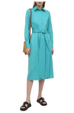 Женское платье из хлопка и льна KITON голубого цвета, арт. D50348H07724 | Фото 2